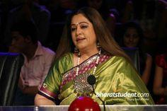 Kiron Kher in kora silk Saree. Description by Pinner Mahua Roy Chowdhury.