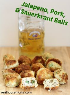 Jalapeno, Pork, & Sauerkraut Balls are an amazing appetizer or main dish to help celebrate Oktoberfest! They are delicious with extra hot sauce and ranch or blue cheese dressing.
