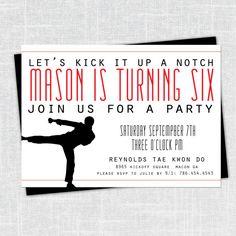 Mason Karate/Martial Arts Party Invitation 5x7 by BeanPress, $15.00