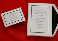 This classic bright white wedding invitation card has a simple black and pearl border from Wedding Invitations-WeddingBeDazzle