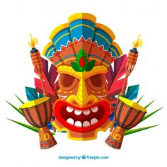 Background of tiki mask in flat design with timpani Free Vector - Hawaiian Luau Party, Hawaiian Tiki, Hawaiian Tribal, African Theme, African Art, Tiki Maske, Tiki Faces, Turtle Tattoo Designs, Hawaian Party