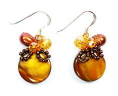 BDJ Caramel Mother of Pearl & Copper Tone Assorted Stone Handmade Drop Earrings Bijoux De Ja http://www.amazon.com/dp/B00GAV3HQC/ref=cm_sw_r_pi_dp_0V6.wb13NQ32E