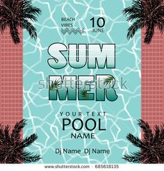 Summer pool party poster templatepool party invitation with sample pool party invitation with sample textntage design banner stopboris Images