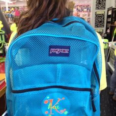 Mesh backpacks in stock!  Great colors and we can monogram them at J & R Educational Supplies