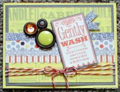 """Dec SOTM Blog Hop - """"Special Care"""";  Paper: Baby Cakes Paper Pack, Buttercup Cardstock, Slate Cardstock, Colonial White Cardstock Stamps: Special Care Inks: Slate, Sunset Accessories: Baby Cakes Assortment, Silver Shimmer Tape, Scallop Border Punch, Foam Tape, Harvest Baker's Twine"""