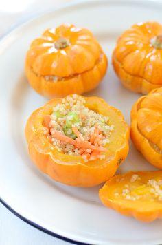 Quinoa stuffed mini-pumpkins.