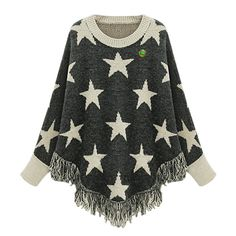 Women Poncho Cape Pullover Sweater Loose Fit Tassel Gray Star