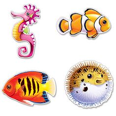 Our Under the Sea Fish Cutouts feature a seahorse, clownfish, tropical fish and puffer fish. These Under the Sea Cardstock Cutouts are printed on both sides.