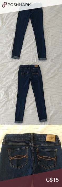 Abercrombie & Fitch Jean jegging A&F jegging in size 2 regular (waist length Stretchy. In good condition, no tears. Jean legs were folded when I bought it, that's the style but you can unfold it. Abercrombie And Fitch Jeans, Jeggings, Size 2, Skinny Jeans, Legs, Best Deals, Pants, Closet, Stuff To Buy