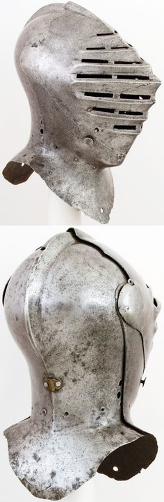 Anglo-Flemish tournament Helm, ca. 1510–20, steel, H. 17 1/4 in. (43.8 cm); D. 14 1/8 in. (35.9 cm); Wt. 10 lb. 5 oz. (4675 g), Met Museum.