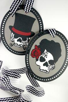 Wedding Chair Signs - Gray White Black Red - Bride Groom Reversible Mr. Mrs. Day of the Dead Sugar Skulls. $36.00, via Etsy.