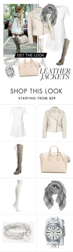 """""""Get the Look: Leather Jacket"""" by bbykeiko ❤ liked on Polyvore featuring Elie Tahari, River Island, Carlos by Carlos Santana, Givenchy, Ozone, Tory Burch, White House Black Market and Nemesis"""