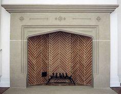 Tudor arch fireplace with herringbone brick firebox -- Peter Zimmerman Architects - New House, Gladwyne, PA