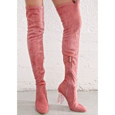 0b4d4289385 Privileged Pink Pom Pom Fury Over-the-Knee Boots by Privileged .