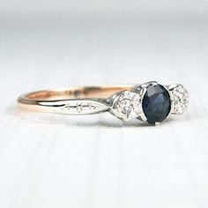 Sweet Sapphire and Diamond Crossover Trilogy Ring by HeartDecoShop