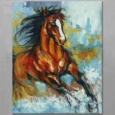 Online Shop Oil painting On Canvas Wall Pictures For Living Room Wall Art Canvas Pop art Running Horse modern abstract hand painted paint | Aliexpress Mobile
