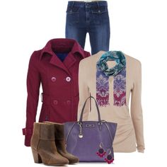 """Burgandy Peacoat"" by cathy0402 on Polyvore"
