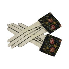Art Deco Embroidered Gloves | From a collection of rare vintage gloves at https://www.1stdibs.com/fashion/accessories/gloves/