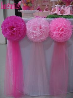 the cascade of color from the tissue pom ups the glam factor considerably.Table decor with pom pomsTable decor for birthday party or mum for baby showerLuisinas C's Birthday / Barbie - Photo Gallery at Catch My Party Maybe for Ellie Birthday (baptism Barbie Birthday Party, Girl Birthday, Birthday Parties, Birthday Ideas, Birthday Candy, Birthday Decorations, Baby Shower Decorations, Barbie Party Decorations, Party Wall Decorations