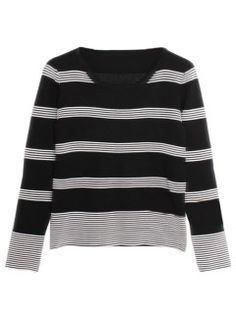 Monochrome Striped Long Sleeve Sweater