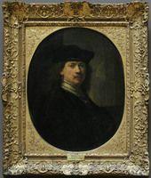 REMBRANDT Harmensz. van Rijn  Leyde, 1606 - Amsterdam, 1669    Rembrandt à la toque sur fond d'architecture   Peint vers 1640 (la date de 1637 est rajoutée)   H. : 0,80 m. ; L. : 0,62 m.