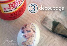 Frozen movie Easter Egg Decorating Ideas: decoupage