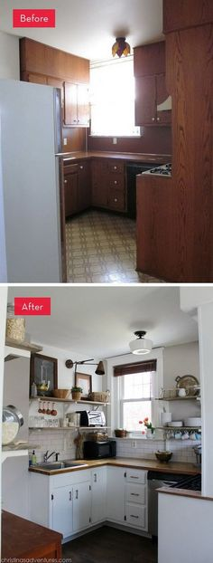 Before and After: A Dark Kitchen Gets A Refreshing New Look. What an amazing improvement. This kitchen was dark and dingy with the brown cabinets and backsplash. But now it's light filled, airy and inviting.