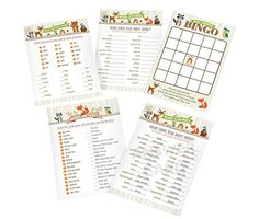 """#Lillian #Rose Woodland 5"""" x 7"""" Baby Shower Game Cards . Guests will be delighted to play these fun baby shower games with a woodland design. Set includes 4 baby ..."""