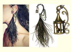 FREE SHIP Bird in cage multi strand chain&feather left ear cuff,Tribal,Nature inspired,Bohemian,Fantasy tassel punk ear wrap,single earrings...