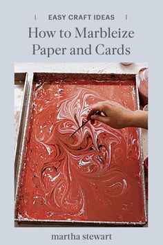 Don't let the intricacy and kaleidoscopic beauty of a marbleized design fool you. Those ripples of color may look hand-painted or machine-stamped, but they're created by liquid, which you can learn and do at home. Follow our simple marbelizing paper guide and tips to help create stunning designs. #marthastewart #crafts #diyideas #easycrafts #tutorials #hobby