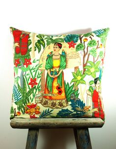 Cushion Cover LARGE Frida Kahlo Bright Colourful Day of the Dead Mexican Fabric… Mexican Pillows, Mexican Fabric, Mexican Folk Art, Mexican Style, Frida Kahlo Diego Rivera, Frida And Diego, Bright Pillows, Throw Pillows, Frida Art