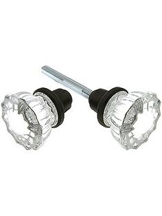 Pair Classic Vintage Pressed Glass Door Knobs on Shaft | Glass door ...