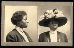 ca. 1900 Mug shot of African American woman with large, flowered hat.