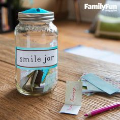 This Jar Runneth Over: Share good feelings and promote positive thinking with the help of a simple Smile Jar filled with happy thoughts, jokes, or silly notes. Diy Father's Day Gifts, Father's Day Diy, Happy Jar, Camping Jokes, Camping Gear, Operation Christmas Child, Gifted Kids, Jokes For Kids, Glue Crafts