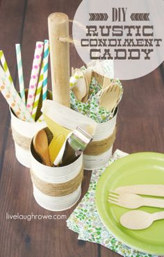 DIY Rustic Condiment Caddy with livelaughrowe.com for alittletipsy.com #diy