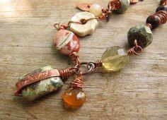 Autumnal Equinox - Jasper Ceramic Copper Wire Wrapped Bracelet by sundown_bead_designs, via Flickr