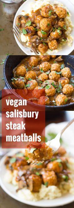 Vegan Salisbury Steak Meatballs with Garlic Mashed Potatoes & Mushroom Gravy