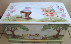 Custom Personalized Tea Party Toy Box Inspired By Alice In Wonderland, Wooden…