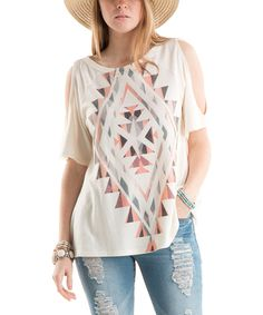 Take a look at this White Geometric Cold Shoulder Tee today!