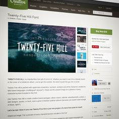Our newest #font Twenty-Five Hill is now #forsale on #creativemarket! Grab it today! http://s.graticle.com/9F20