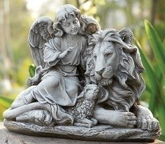 Guardian Angel With Lion And Lamb Garden Statue