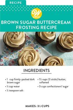 Cupcake Recipes, Baking Recipes, Cupcake Cakes, Dessert Recipes, Fondant Cakes, Car Cakes, Fondant Figures, Brown Sugar Buttercream Frosting Recipe, Cake Frosting Recipe