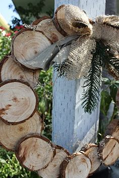 Log wreath - this is similar to the one I had my dad help with - only we used cedar for the smell.  Would be great to do from your Christmas tree, and you could use it for fall or Christmas.