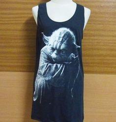 Yoda Starwars tank top black cotton sleeveless tops singlet shirt size M L XL  #unbranded #sleeveless
