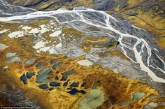 This aerial view of the the Thjors river in Iceland reveals another of the country's drastically contrasting landscapes