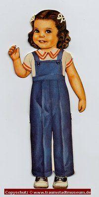 PAM Puppenkind mit dunklen Locken Anziehpuppe Papierpuppe ausgestanzt Reprint von 1920 Paperdoll