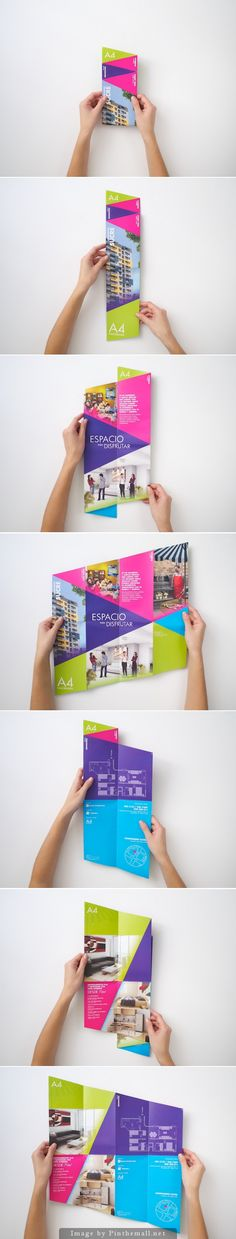 I like the design of this brochure. The cut and folding style of the brochure is different and adds a creative element to its style. Graphisches Design, Buch Design, Flyer Design, Layout Design, Print Design, Brochure Folds, Brochure Layout, Creative Studio, Creative Design