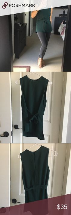 Top Shop Green Blouse. Size Small Beautiful front tie, Forrest green sleeveless top . Size small from top shop.  Would go great with grey jeans, perfect for work events Topshop Tops Blouses