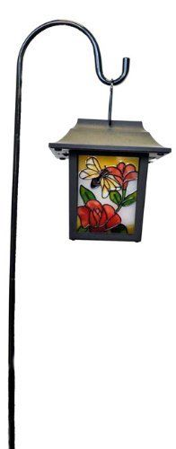 """Stained Glass Solar Lantern w/ Hook -- Bee and Red Flower by Solar Wholesale. $39.99. Portable design can be hung other where else. Iron Rod is made of heavy duty metal, Lantern of Tough Plastic. Tiffany Stained Glass Design. 29 inches tall with Iron Rod. Lantern Size: 6 X 6 X 6"""" Square. 1 year product warranty with Solar Everything. When lit from within, the stained glass panels of this stylish lantern come alive. It  captures sunlight in the day and turn into a..."""