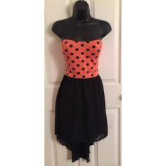Casual hi low dress Polka dot tube hi low dress with black mini pencil skirt under sheer hi low dress; lightly worn Dresses High Low